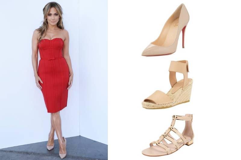 Một đôi giày cao gót màu nude giúp chủ nhân sành điệu hơn cùng chiếc váy đỏ