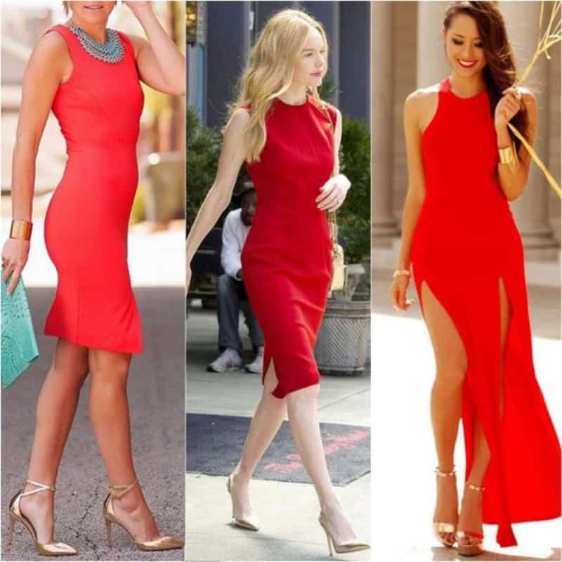 Đôi giày vàng ánh kim tôn lên sự sang trọng khi kết hợp cùng váy đỏ