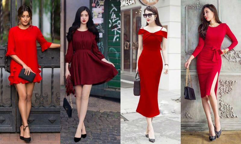 Giày màu đen là lựa chọn an toàn cho cô nàng váy đỏ