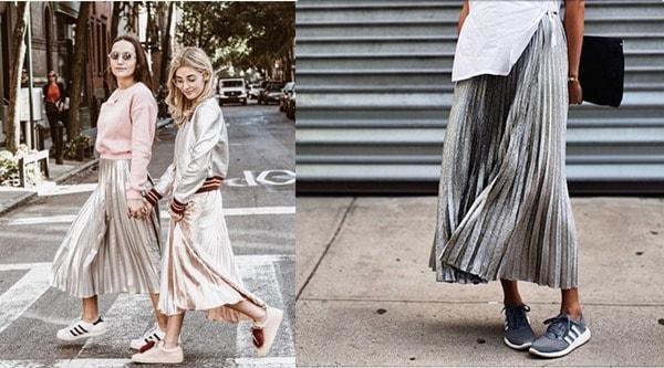 Chân váy maxi mix với áo thun và giày thể thao là set đồ năng động để bạn gái diện ngày Tết