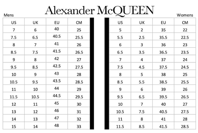 Bảng size giày Alexander McQueen dành cho nam và nữ