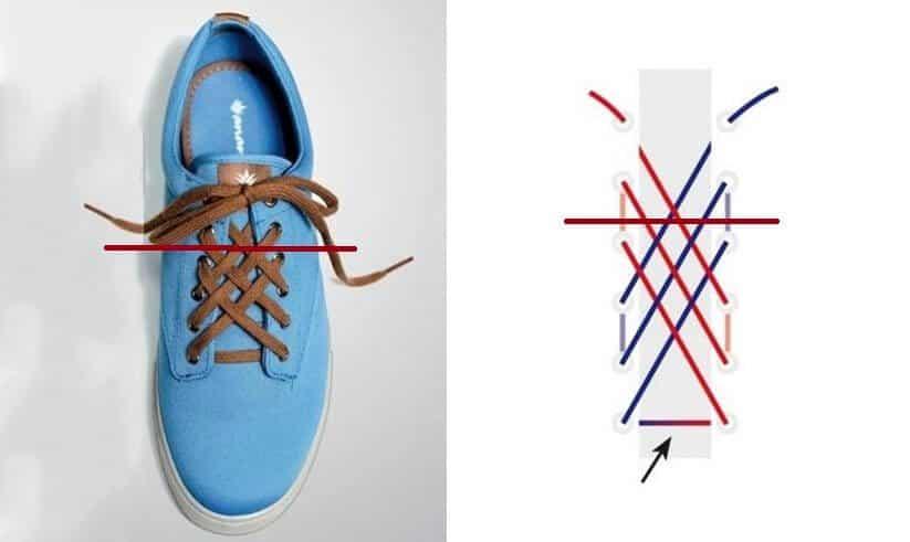 Cách thắt dây giày 4 lỗ hình kim cương
