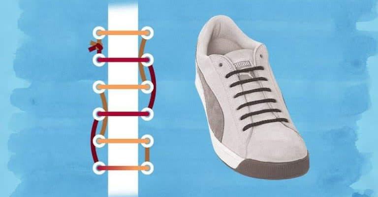 Cách thắt dây giày 4 lỗ thành đường thẳng
