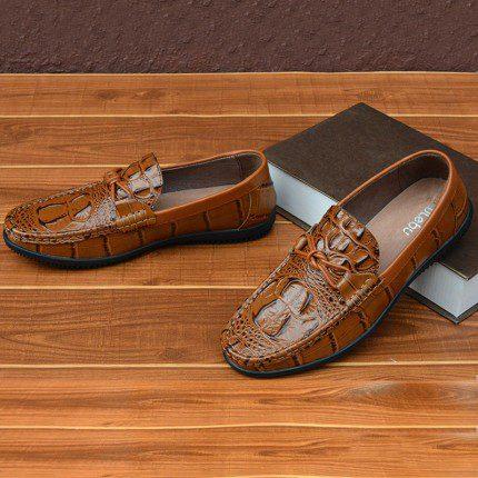 Giày lười nam dập vân cá sấu thiết kế khỏe khoắn và mạnh mẽ