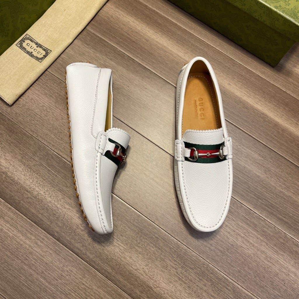 Giày lười nam gucci màu trắng sang trọng