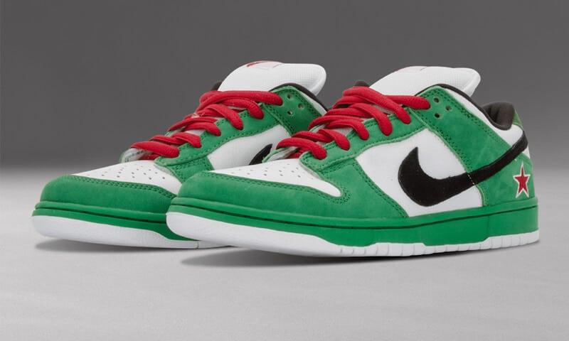 Nike SB Dunk Low Heineken được thiết kế theo hình ảnh bia Heineken