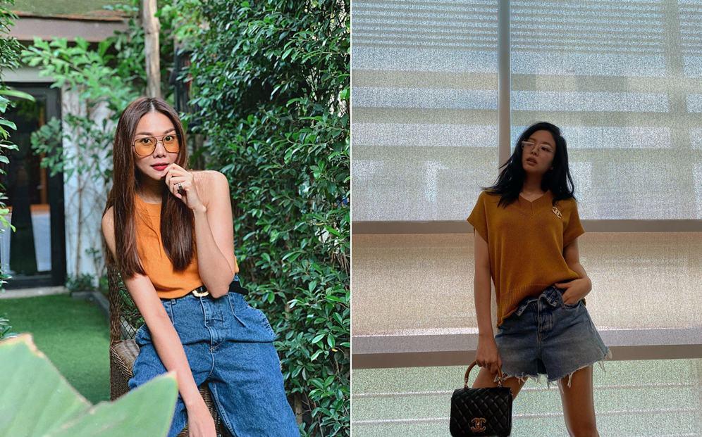 Kết hợp áo cam cùng quần/chân váy denim xanh dương mang đến vẻ trẻ trung, cá tính