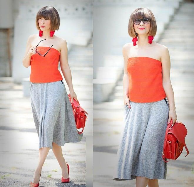 Mix & match cam – đỏ đô tạo nên gu thời trang ấn tượng