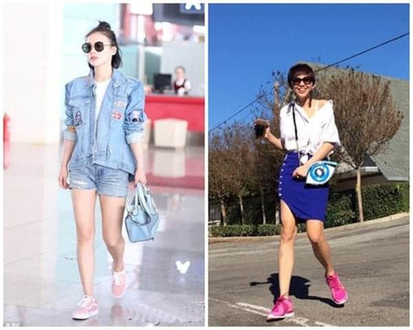 Gợi ý cách phối đồ với giày thể thao màu hồng
