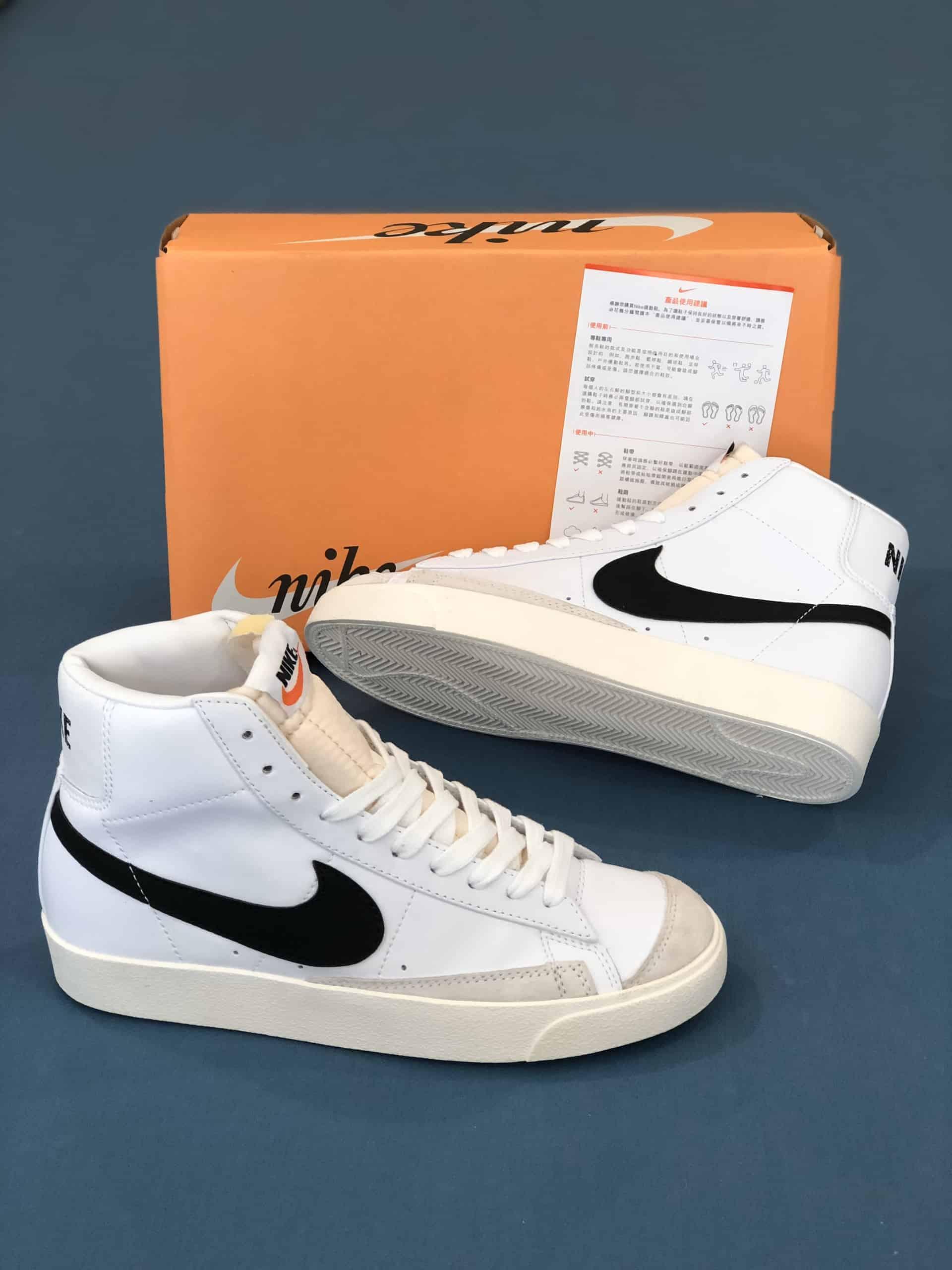Nike Blazer Mid 77 Vintage White Black Rep 1:1 có màu sáng mới mang phong cách trẻ trung