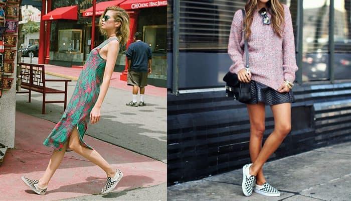 Giày Vans Slip-On phối đầm váy là item hoàn hảo của cô nàng điệu đà